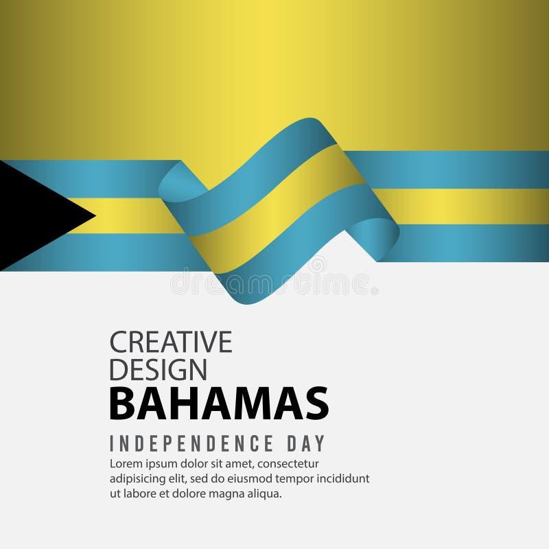 Mall för vektor för illustration för design Bahamas för oberoende dagaffisch idérik vektor illustrationer