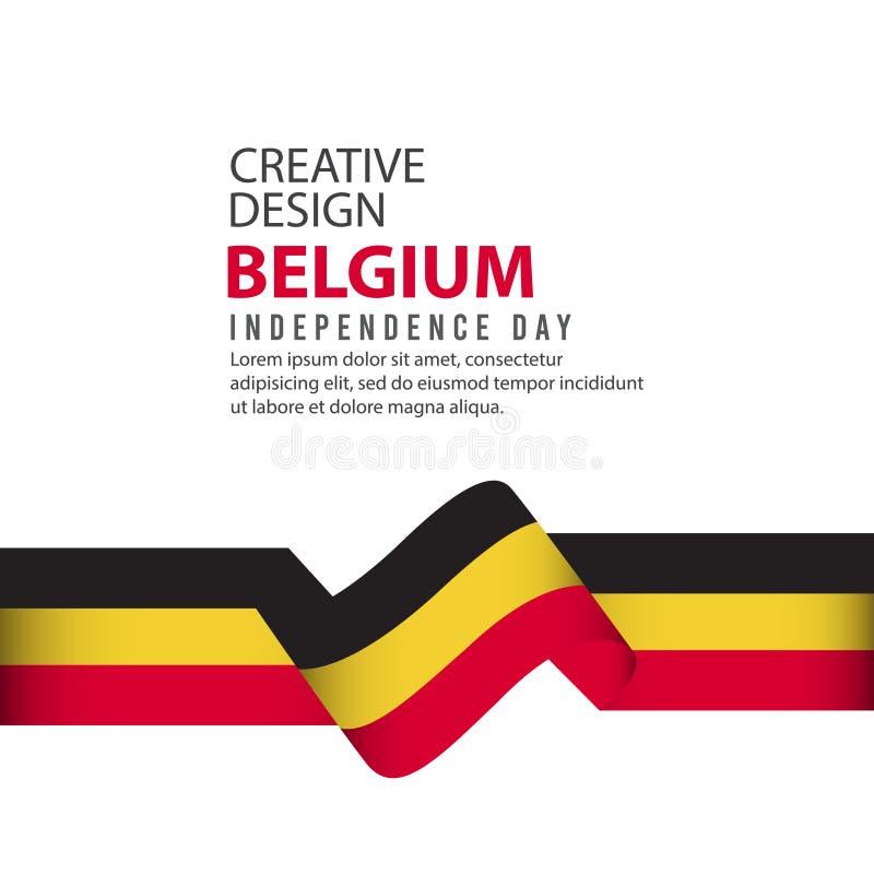 Mall för vektor för illustration för design Belgien för oberoende dagaffisch idérik royaltyfri illustrationer