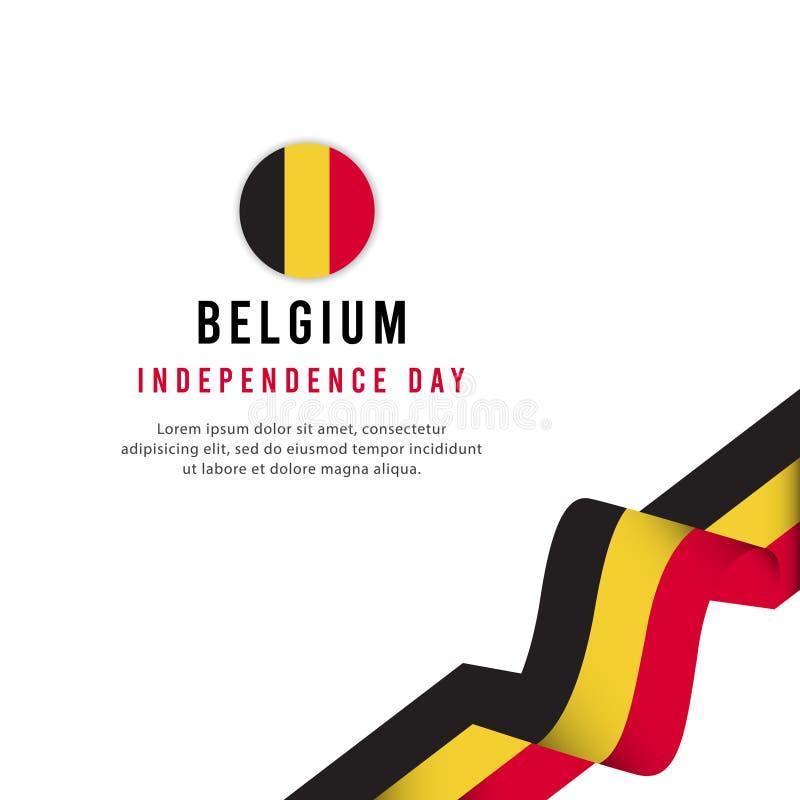 Mall för vektor för illustration för design Belgien för oberoende dagaffisch idérik vektor illustrationer