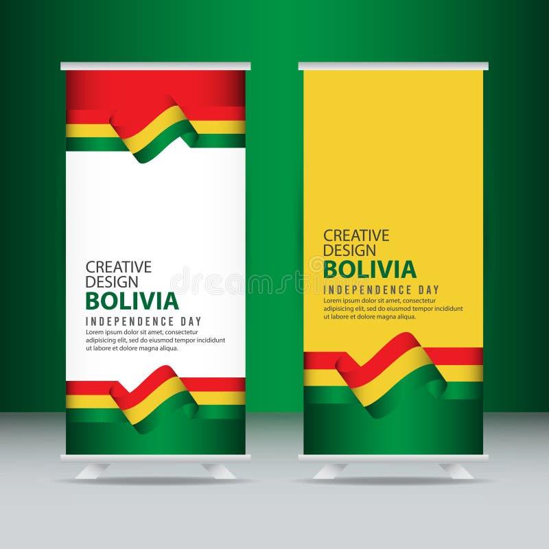 Mall för vektor för illustration för design för Bolivia självständighetsdagenberöm idérik stock illustrationer