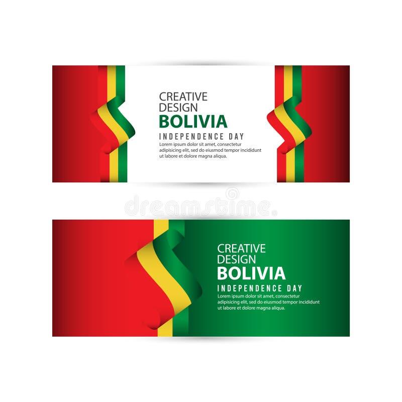 Mall för vektor för illustration för design för Bolivia självständighetsdagenberöm idérik vektor illustrationer
