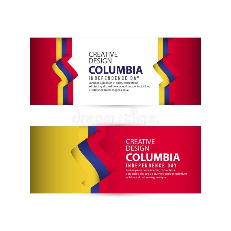Mall för vektor för illustration för design Columbia för oberoende dagaffisch idérik stock illustrationer