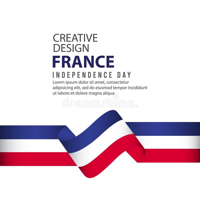 Mall för vektor för illustration för design Frankrike för oberoende dagaffisch idérik royaltyfri illustrationer
