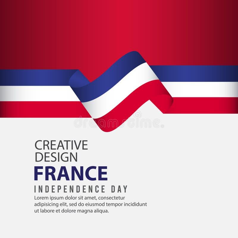 Mall för vektor för illustration för design Frankrike för oberoende dagaffisch idérik vektor illustrationer