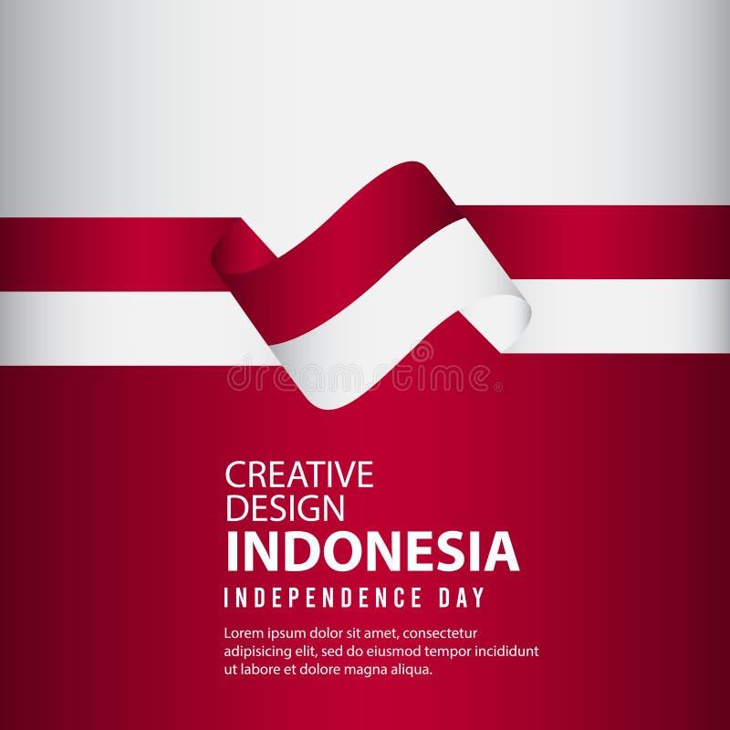Mall för vektor för illustration för design Indonesien för oberoende dagaffisch idérik royaltyfri illustrationer