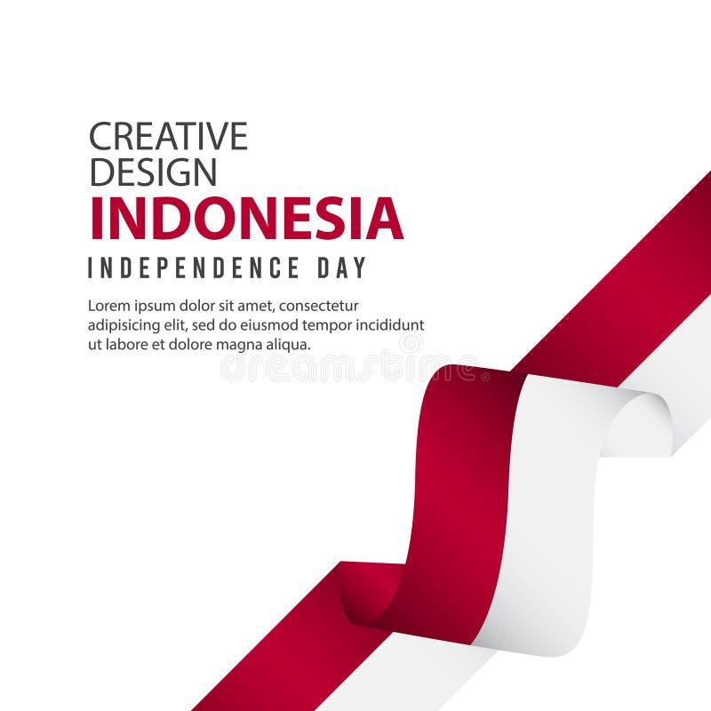 Mall för vektor för illustration för design Indonesien för oberoende dagaffisch idérik vektor illustrationer