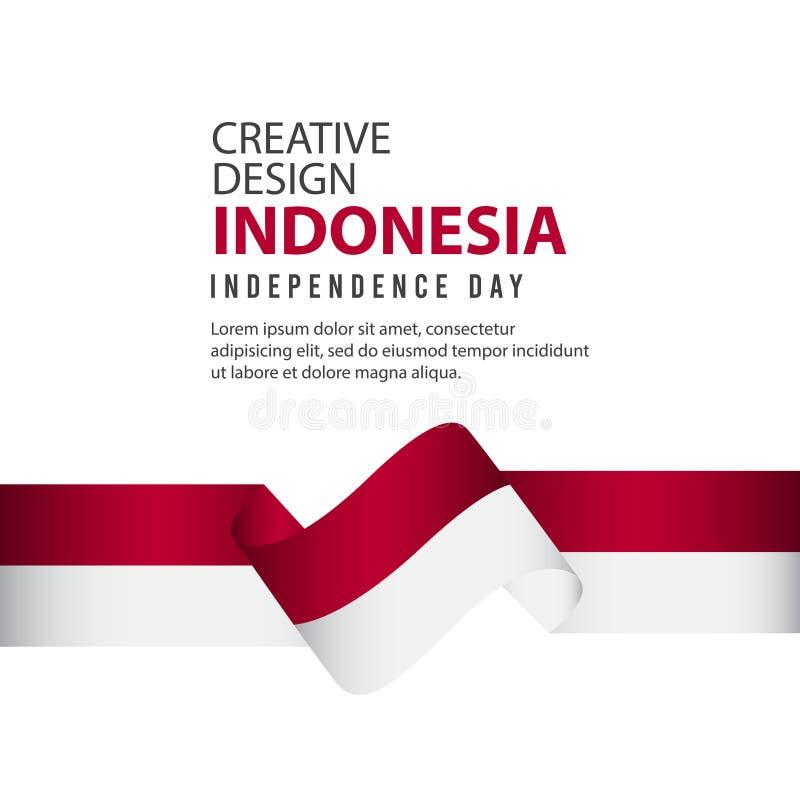Mall för vektor för illustration för design Indonesien för oberoende dagaffisch idérik stock illustrationer
