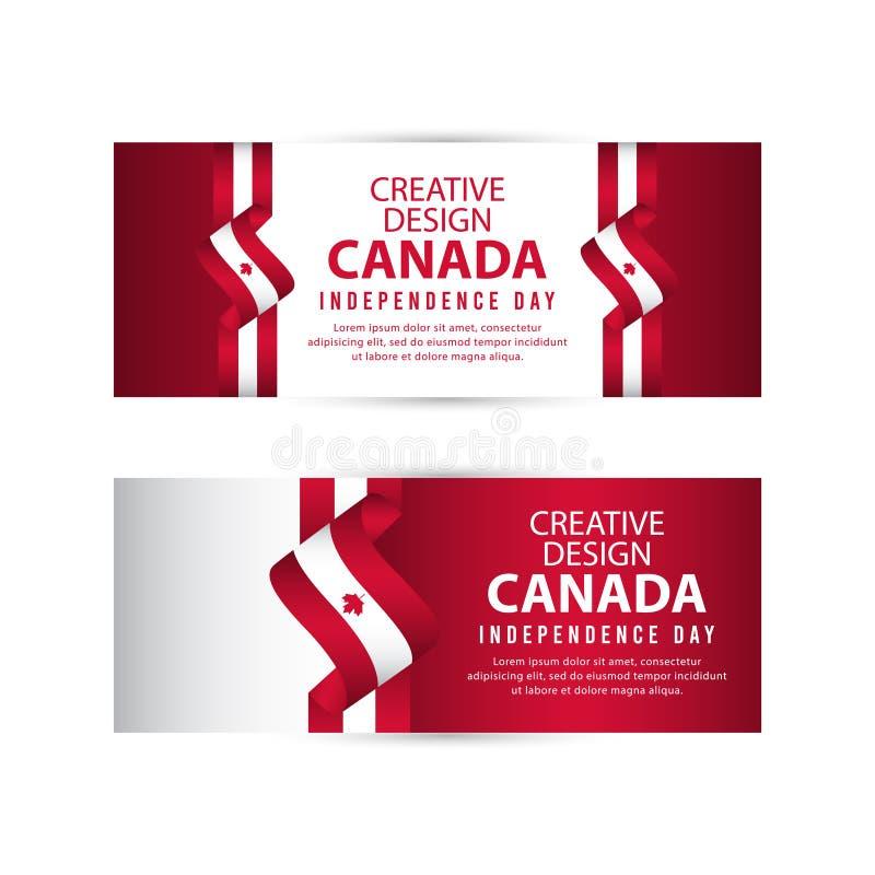Mall för vektor för illustration för design Kanada för oberoende dagaffisch idérik vektor illustrationer