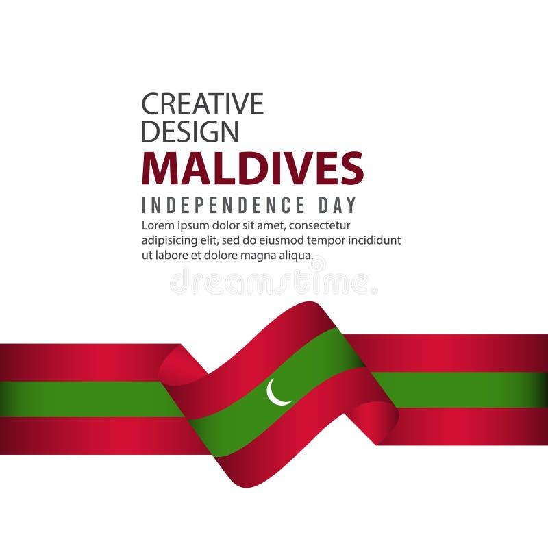 Mall för vektor för illustration för design för Maldiverna självständighetsdagenberöm idérik vektor illustrationer