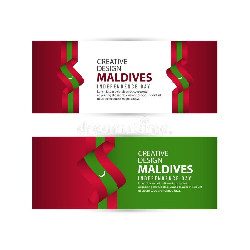 Mall för vektor för illustration för design för Maldiverna självständighetsdagenberöm idérik royaltyfri illustrationer