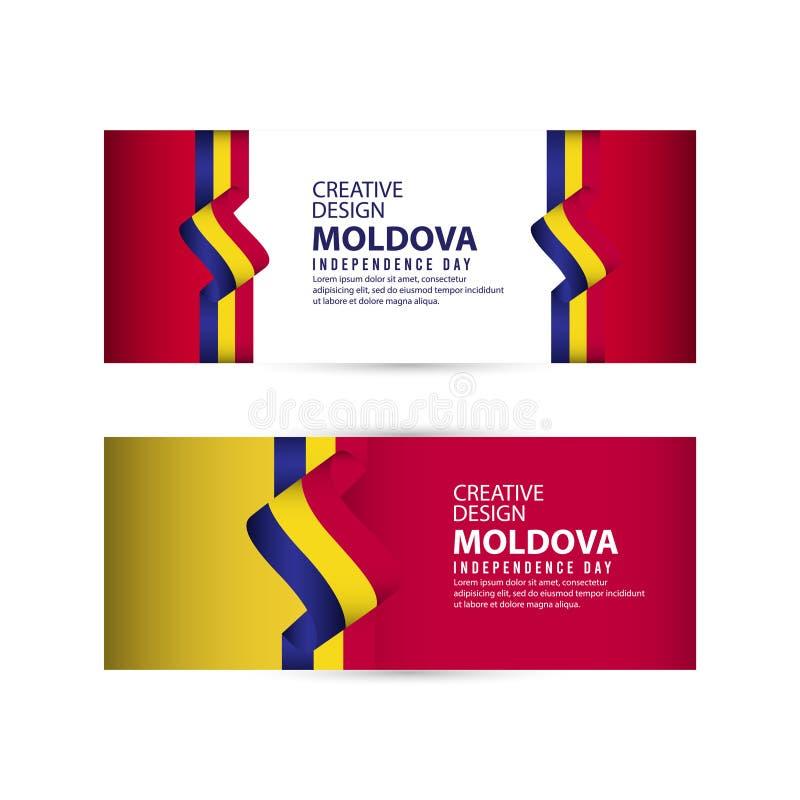 Mall för vektor för illustration för design för Moldavien självständighetsdagenberöm idérik vektor illustrationer