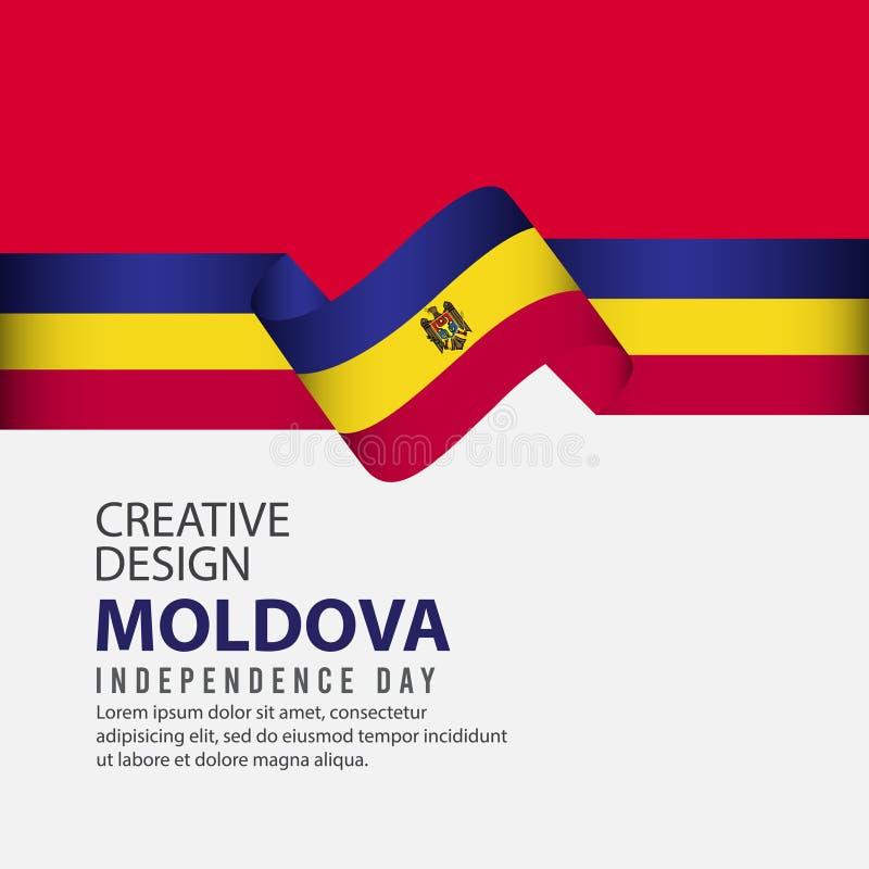 Mall för vektor för illustration för design för Moldavien självständighetsdagenberöm idérik stock illustrationer