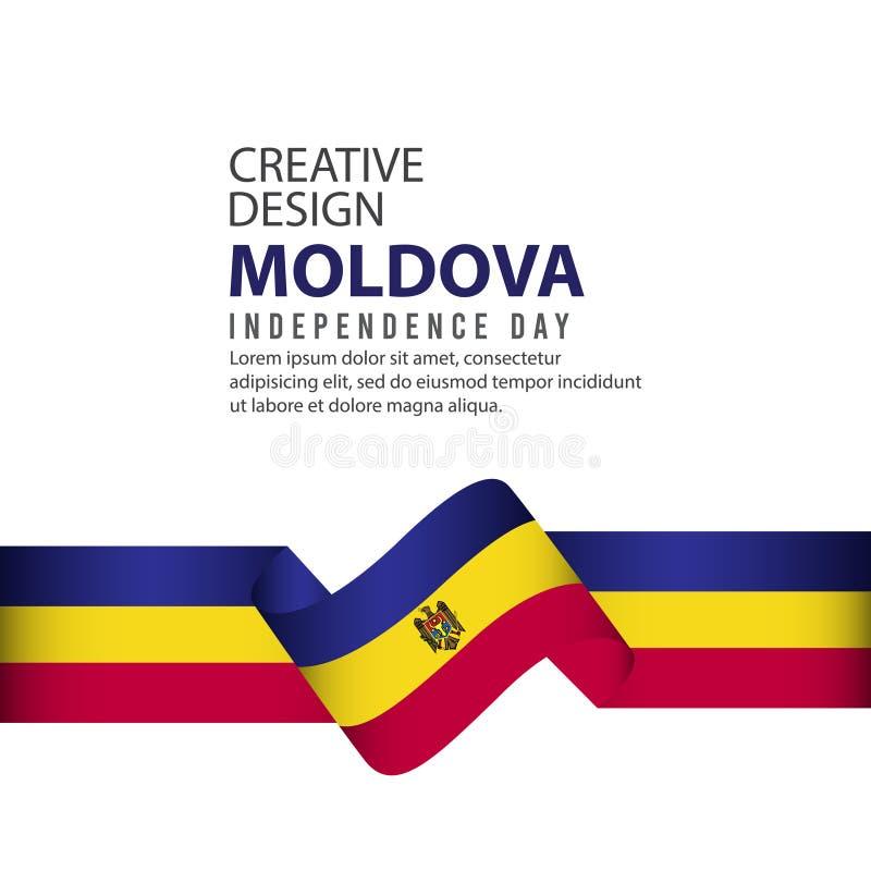 Mall för vektor för illustration för design för Moldavien självständighetsdagenberöm idérik royaltyfri illustrationer