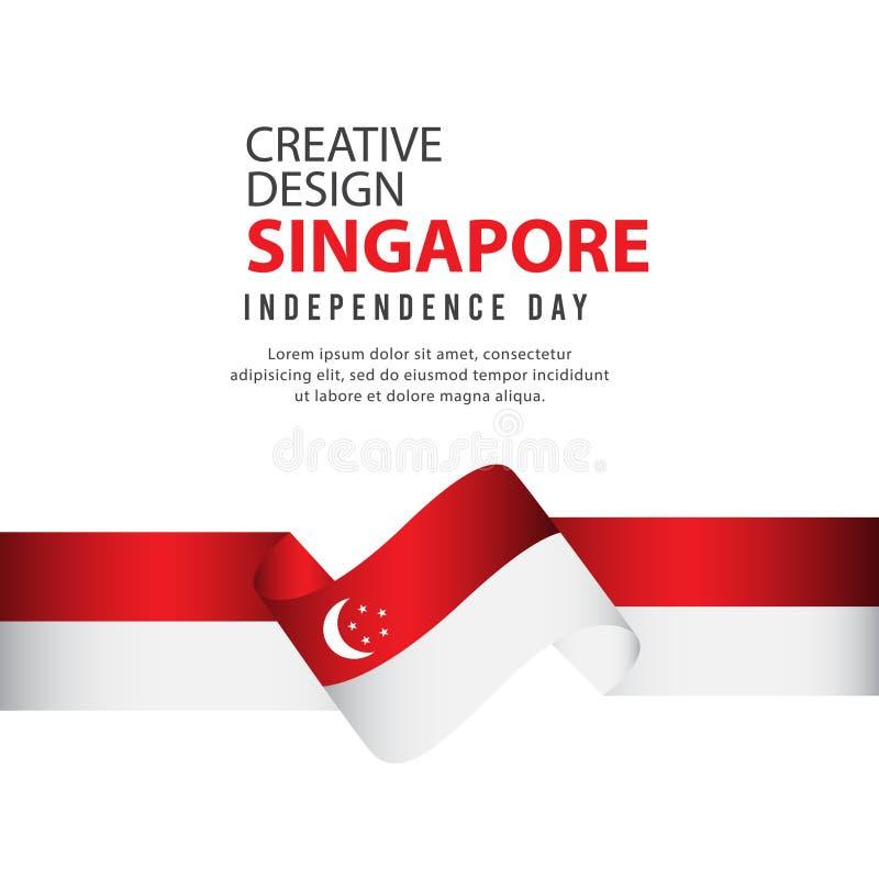 Mall för vektor för illustration för design Singapore för oberoende dagaffisch idérik vektor illustrationer