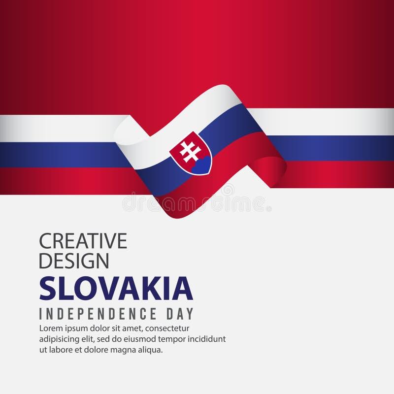Mall för vektor för illustration för design för Slovakien självständighetsdagenberöm idérik royaltyfri illustrationer