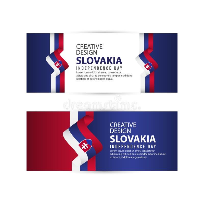 Mall för vektor för illustration för design för Slovakien självständighetsdagenberöm idérik stock illustrationer