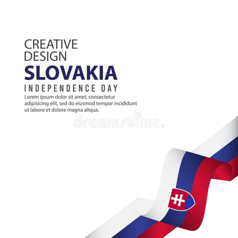 Mall för vektor för illustration för design för Slovakien självständighetsdagenberöm idérik vektor illustrationer