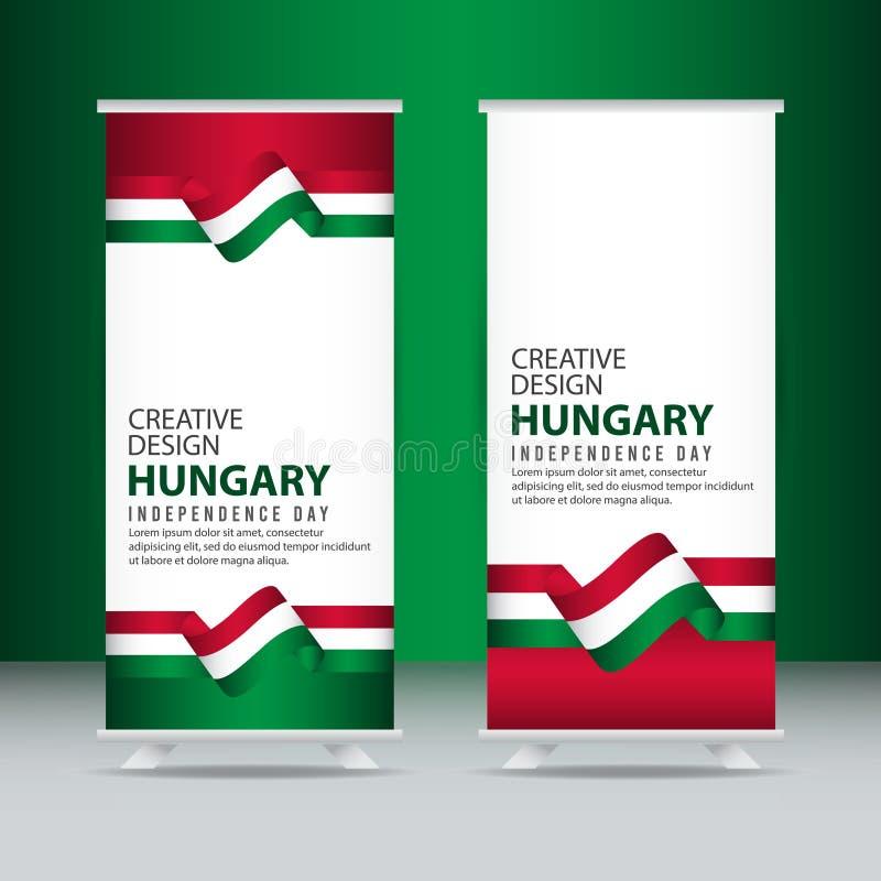 Mall för vektor för illustration för design för Ungernsjälvständighetsdagenberöm idérik stock illustrationer