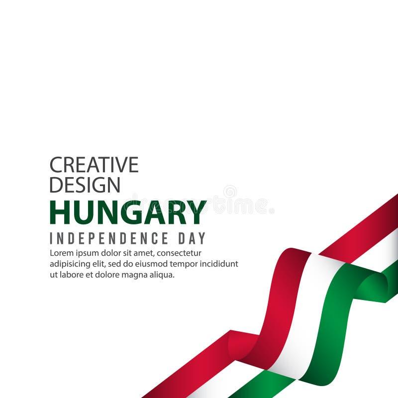 Mall för vektor för illustration för design för Ungernsjälvständighetsdagenberöm idérik vektor illustrationer