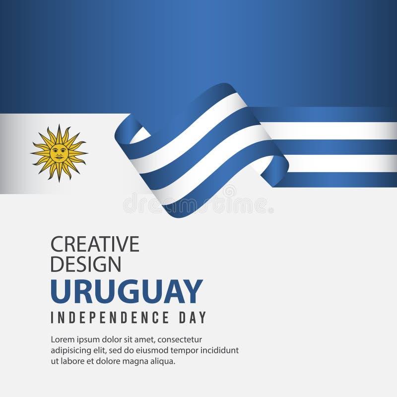 Mall för vektor för illustration för design för Uruguay självständighetsdagenberöm idérik royaltyfri illustrationer