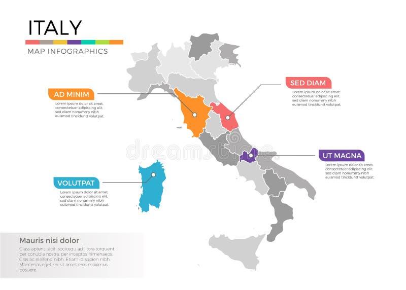Mall för vektor för Italien översiktsinfographics med regioner och pekarefläckar stock illustrationer