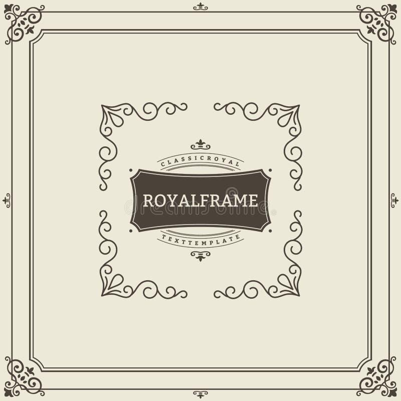 Mall för vektor för kort för tappningprydnadhälsning Retro lyxig inbjudan, kungligt certifikat Krusidullram Tappning stock illustrationer