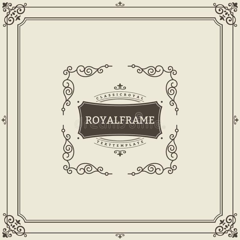 Mall för vektor för kort för tappningprydnadhälsning Retro lyxig inbjudan, kungligt certifikat Krusidullram Tappning royaltyfri illustrationer