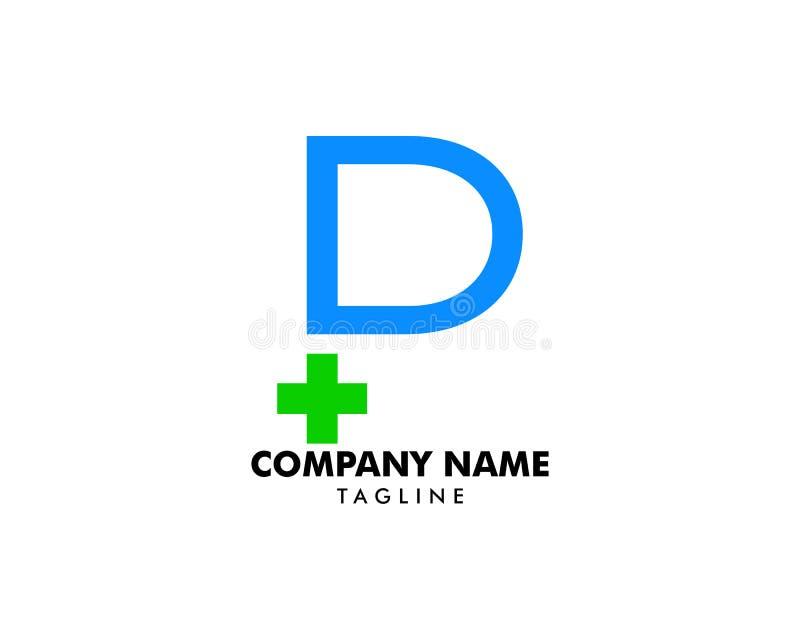 Mall för vektor för logo för kors för initial bokstav för P medicinsk vektor illustrationer