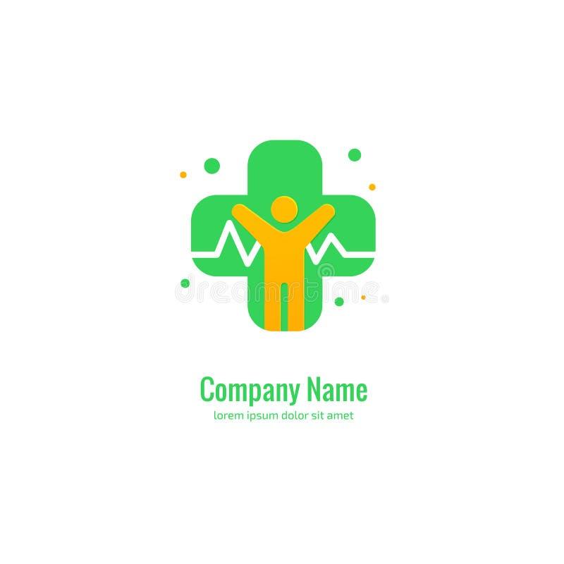 Mall för vektor för logodesignabstrakt begrepp medicinsk Illustrationdesignen av det vård- symbolet för logotypkorset, folk att b royaltyfri illustrationer