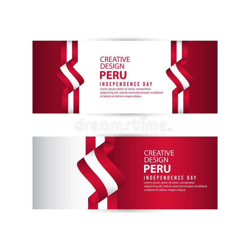 Mall för vektor för Peru Independent Day Poster Creative designillustration stock illustrationer
