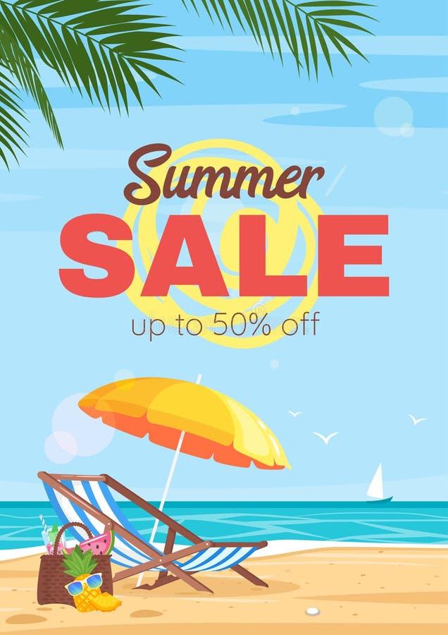 Mall för vektor för reklamblad för sommarresandeförsäljning royaltyfri illustrationer