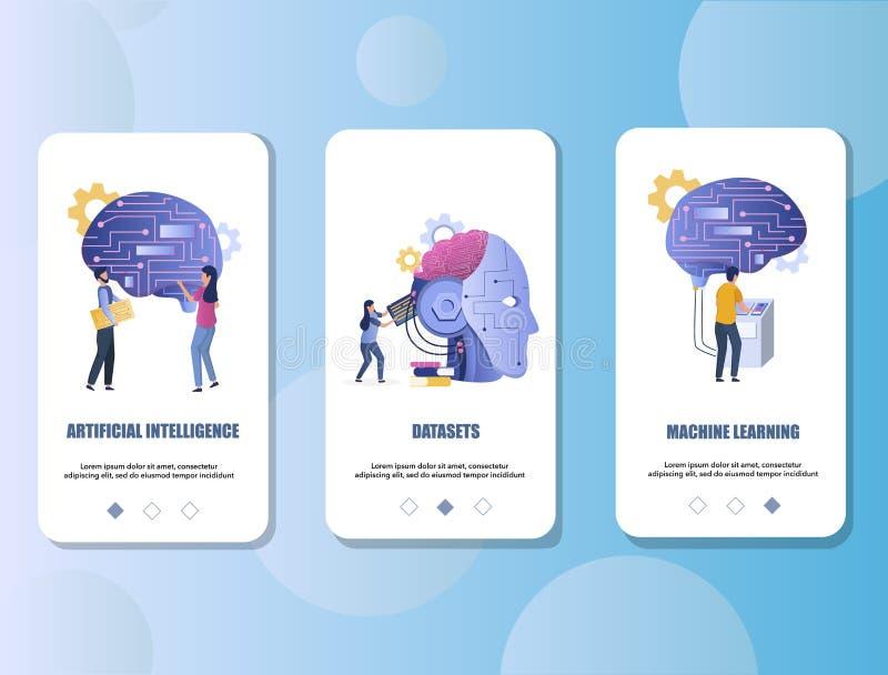 Mall för vektor för skärmar för mobil app för konstgjord intelligens onboarding royaltyfri illustrationer