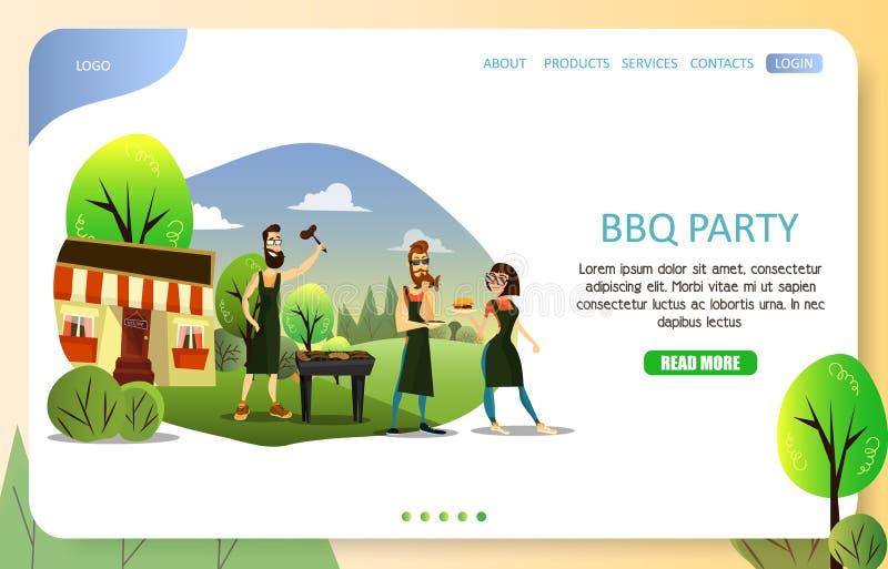 Mall för vektor för website för sida för BBQ-partilandning royaltyfri illustrationer