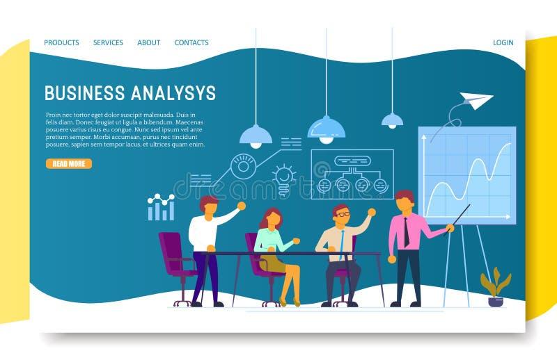 Mall för vektor för website för sida för landning för affärsanalys royaltyfri illustrationer