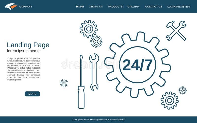 Mall för vektor för Websitelandningsida royaltyfri illustrationer
