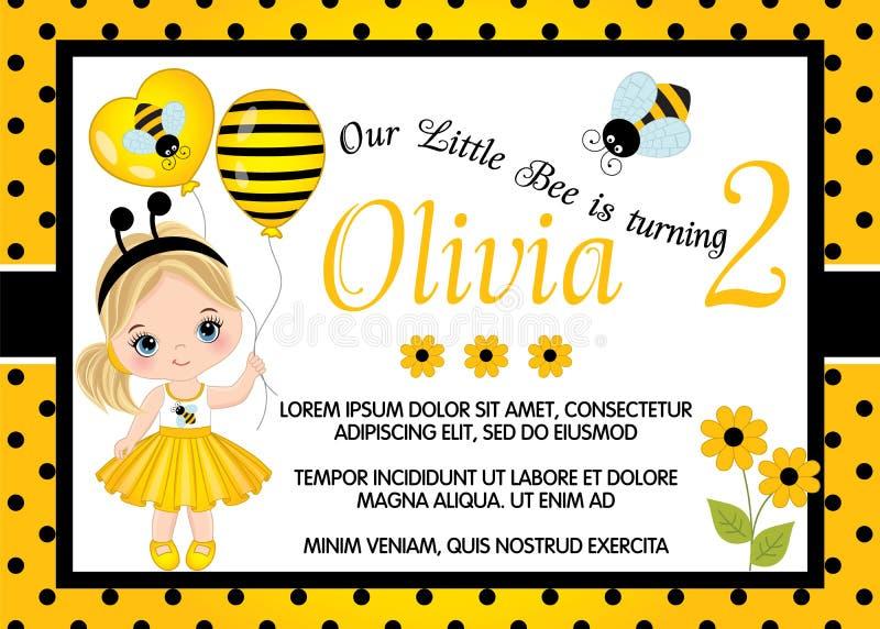 Mall för vektorfödelsedagkort med den gulliga lilla flickan och biet royaltyfri illustrationer
