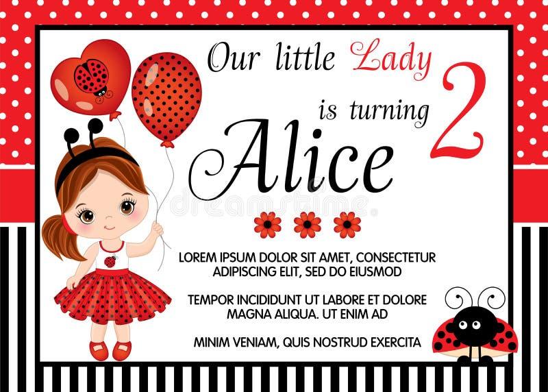 Mall för vektorfödelsedagkort med den gulliga lilla flickan och nyckelpigan stock illustrationer