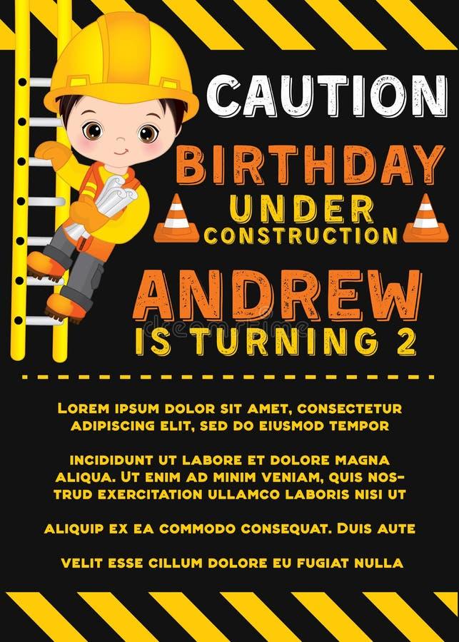 Mall för vektorfödelsedagkort med gulliga Little Boy Liten byggmästare för vektor stock illustrationer