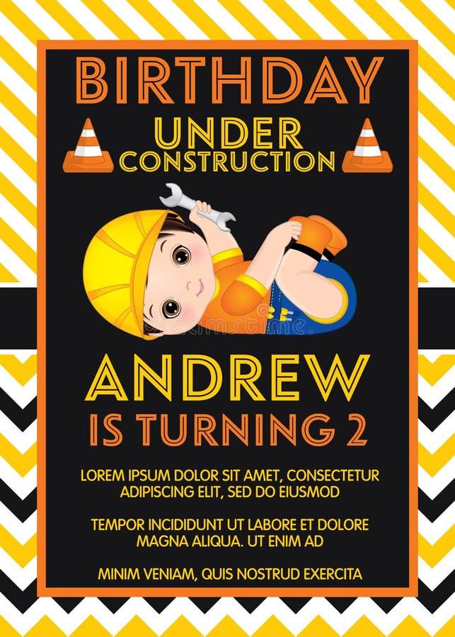 Mall för vektorfödelsedagkort med gulliga Little Boy Liten byggmästare för vektor royaltyfri illustrationer