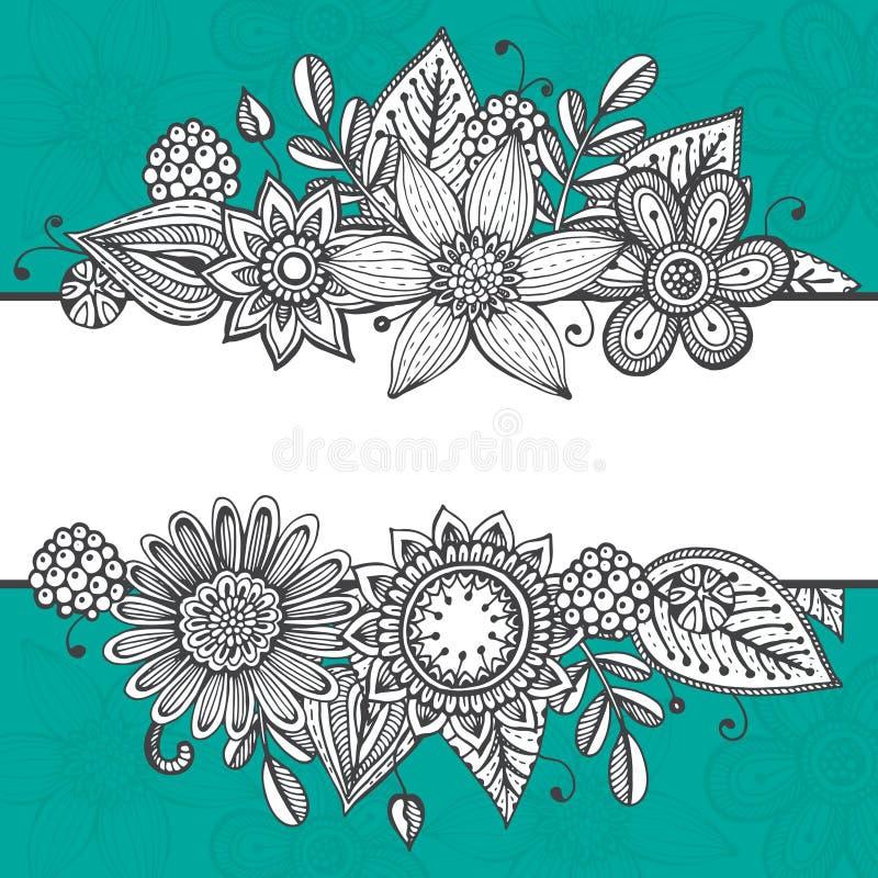 Mall för vektorhälsningkort med hand dragit klotter vektor illustrationer