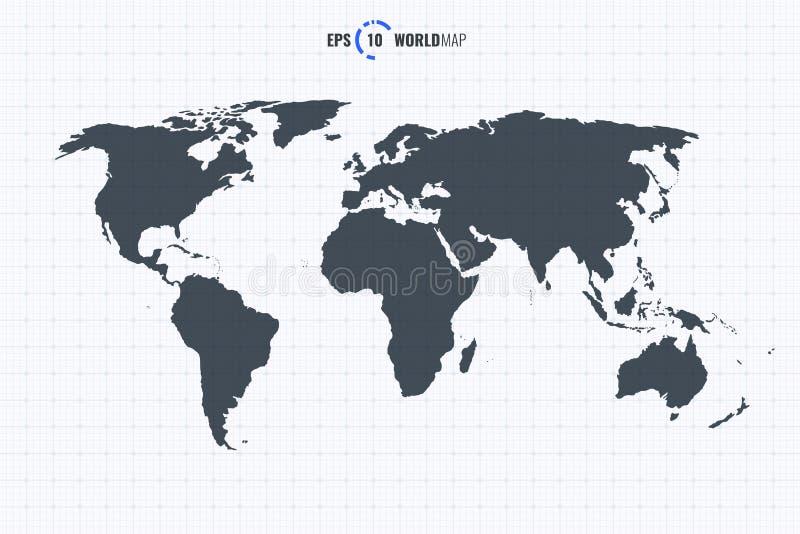 Mall för vektorHög-Res världskarta vektor illustrationer