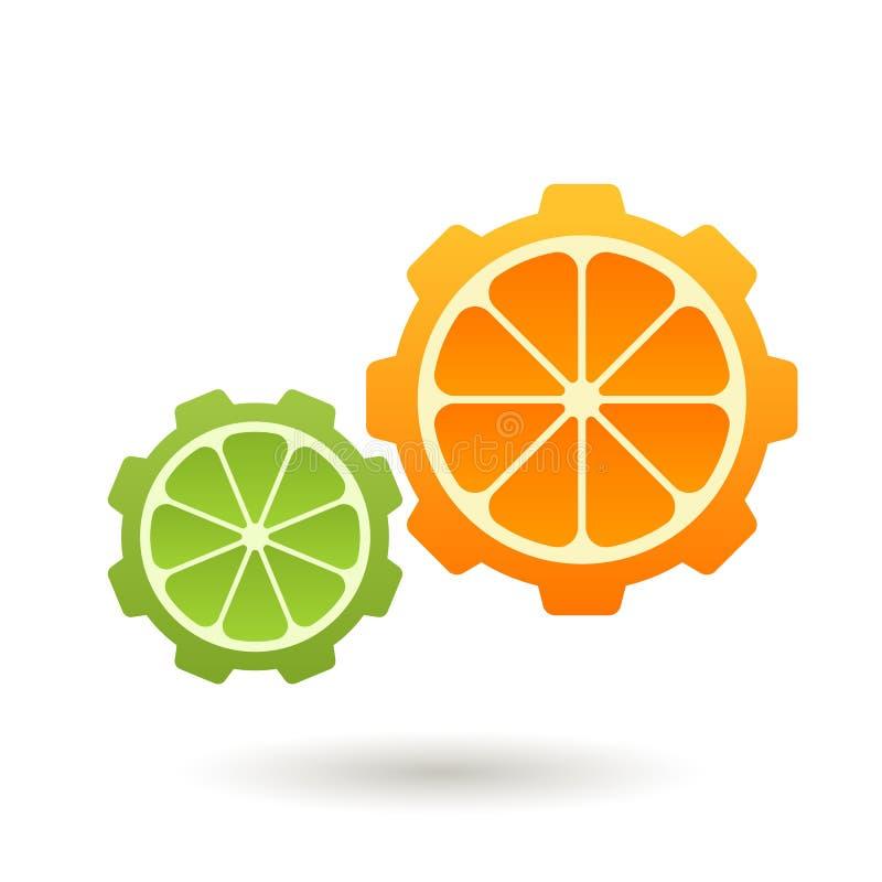 Mall för vektorlogodesign Apelsin- och limefruktkugghjulform, affär stock illustrationer