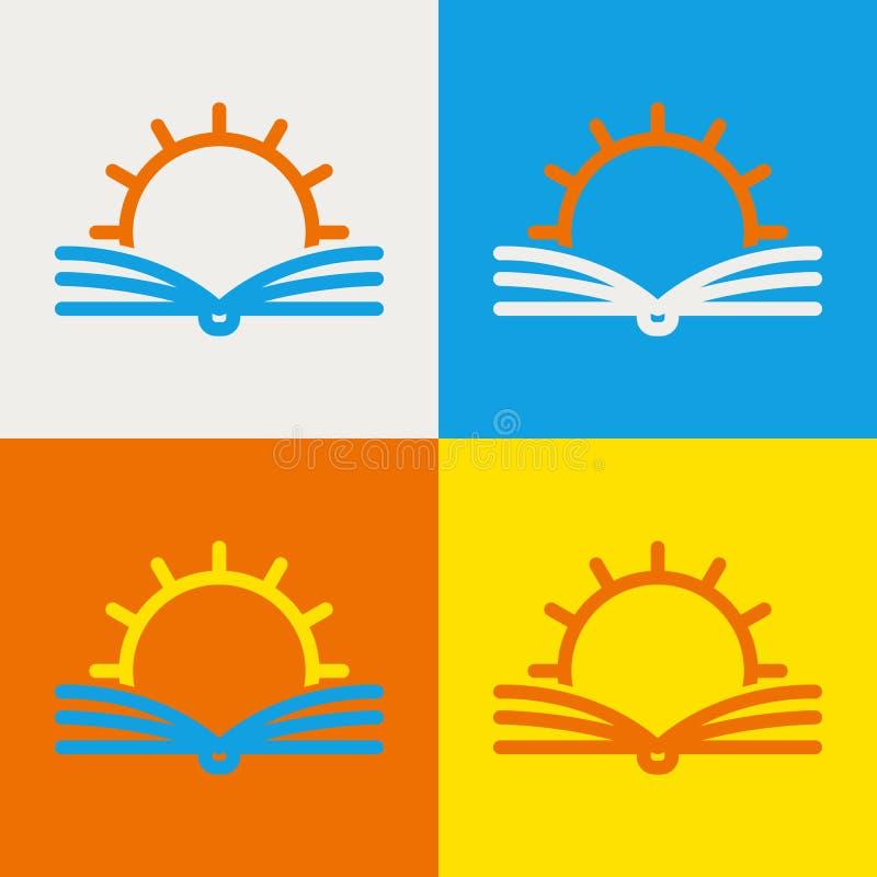 Mall för vektorlogodesign Den abstrakta linjen sol och öppnar boken Ed vektor illustrationer