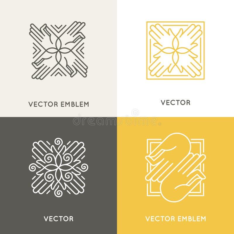 Mall för vektorlogodesign i moderiktig linjär stil royaltyfri illustrationer