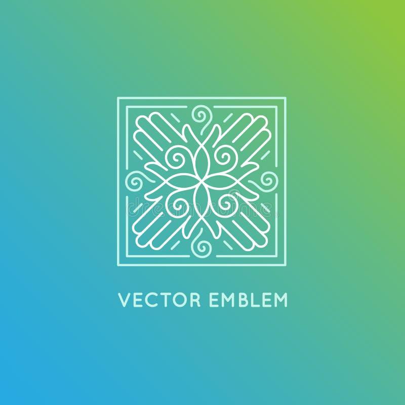 Mall för vektorlogodesign i moderiktig linjär stil vektor illustrationer