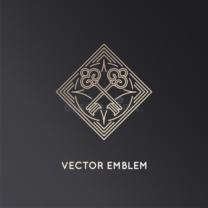 Mall för vektorlogodesign i moderiktig linjär stil med tangenter vektor illustrationer