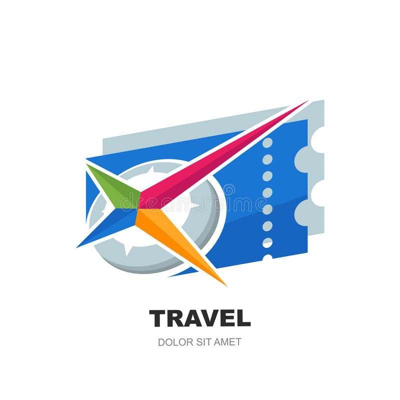 Mall för vektorlogodesign med den abstrakta flerfärgade kompasssymbol- och blåttbiljetten stock illustrationer