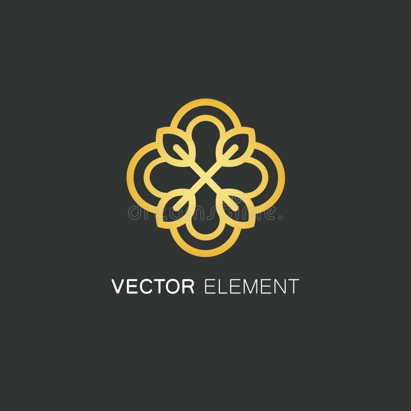 Mall för vektorlogodesign och guld- blom- begrepp i linjär stil - emblem för mode, skönhet och smyckenbransch royaltyfri illustrationer