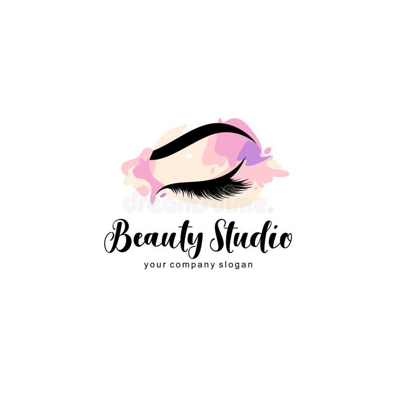 Mall för vektorlogodesign för skönhetsalong kvinnan med pinnen Snärt och krön royaltyfri illustrationer