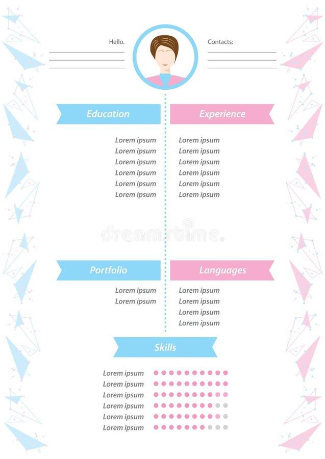 Mall för för vektorminimalistCV/meritförteckning Kvinnlig meritförteckning med infographic design Stilfull CV-uppsättning för kvi royaltyfri illustrationer